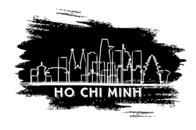 Ho-chi-minh-vietnam-stadt-skyline-silhouette. handgezeichnete skizze. geschäftsreise- und tourismuskonzept mit historischer architektur. vektor-illustration. ho-chi-minh-stadtbild mit sehenswürdigkeiten.