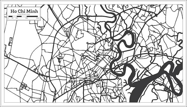 Ho-chi-minh-vietnam-stadtplan im retro-stil. übersichtskarte. vektor-illustration.