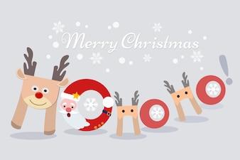 Ho Ho Ho Weihnachtskartenentwurf.