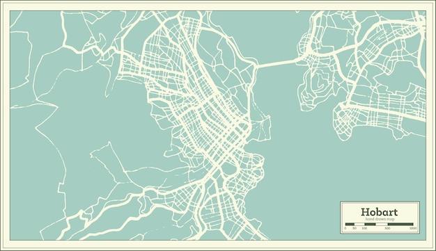 Hobart australien stadtplan im retro-stil