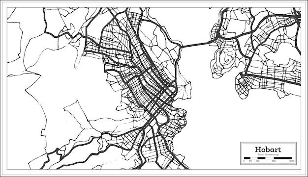 Hobart australien stadtplan in schwarz-weiß-farbe