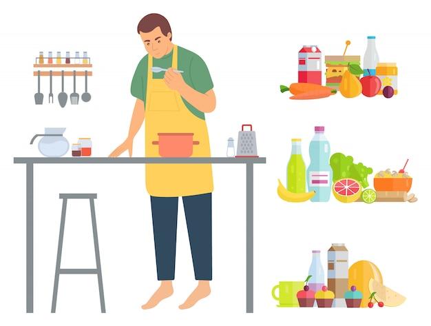 Hobby des mannes, mann, der lebensmittel im küchen-vektor kocht