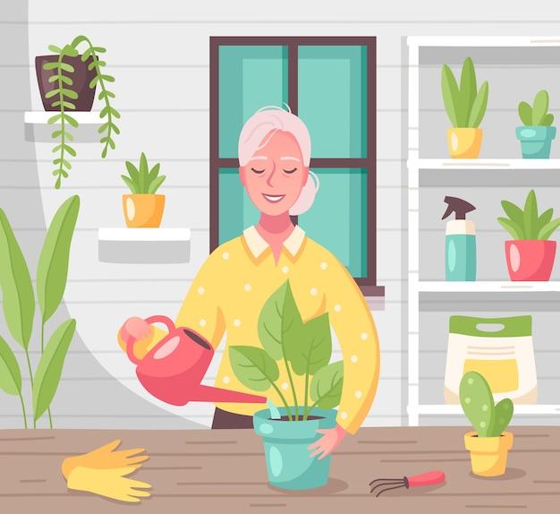 Hobby freizeit freizeitaktivitäten flache komposition mit frau, die sich um zimmerpflanzen kümmert