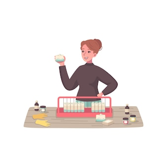 Hobbykarikaturkomposition mit weiblicher figur, die gesichtscreme wählt