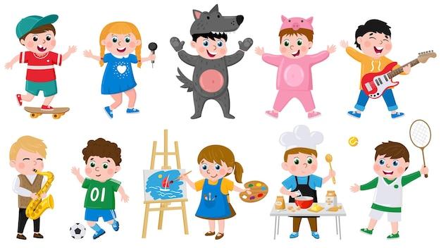 Hobbys von cartoon-kindern. kinder kreatives musical, schauspiel, zeichnen, tanzen, hobby, schule oder vorschulkinder, vektorillustrationssatz. süße hobbys für kinder