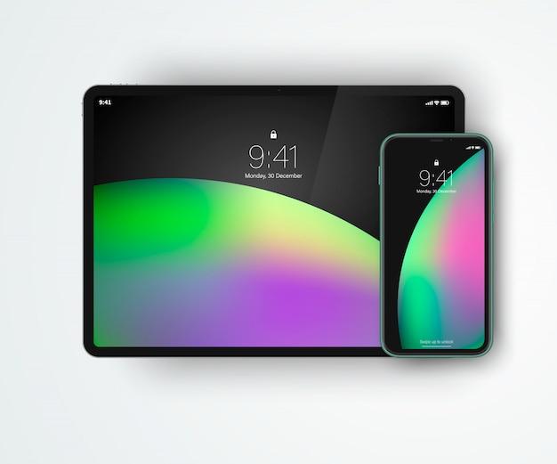 Hochdetaillierte digitale geräte aus einer serie. mobile geräte im one-stil - tablet und smartphone.