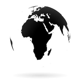 Hochdetailliertes erdkugelsymbol, afrika und naher osten. schwarz auf weißem hintergrund.