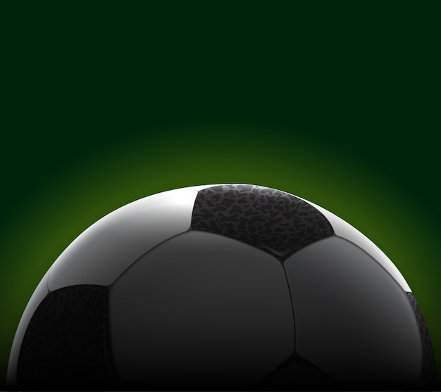 Hochdetailliertes realistisches fußball-banner. abgeschnittener ball.