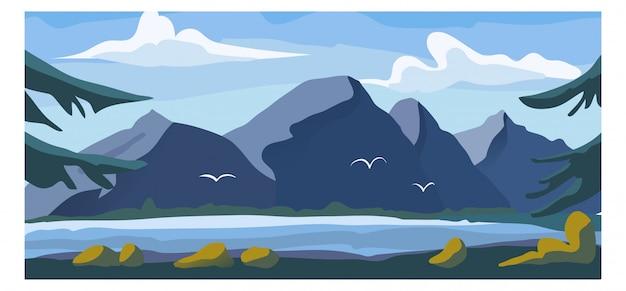 Hochgebirgsblicklandschaft, alpiner natürlicher garten mit süßwassersee-hintergrundumgebungsfahnen-karikaturillustration.