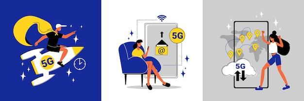 Hochgeschwindigkeits-5g-internet-entwurfskonzept mit flacher isolierter illustration der menschlichen charakterrakete und des smartphones