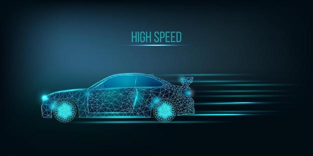 Hochgeschwindigkeitsauto. bannervorlage mit leuchtendem low-poly-grafikauto.
