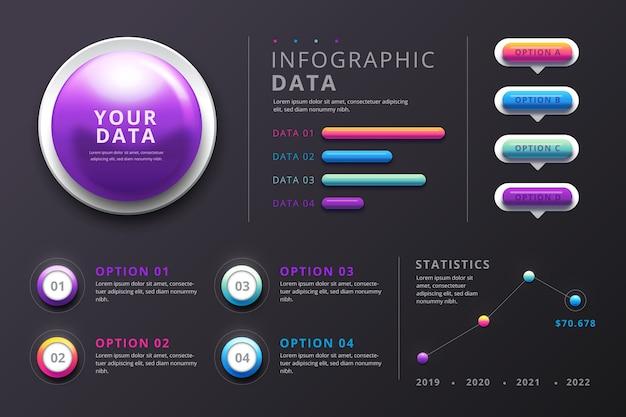 Hochglänzende 3d-infografiken