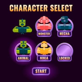 Hochglanz-fantasy-spiel ui charakterauswahl popup