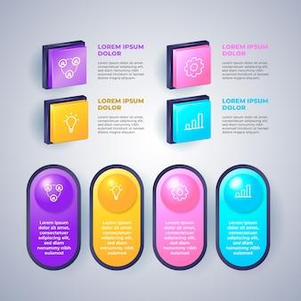 Hochglanz-infografik 3d mit schritten
