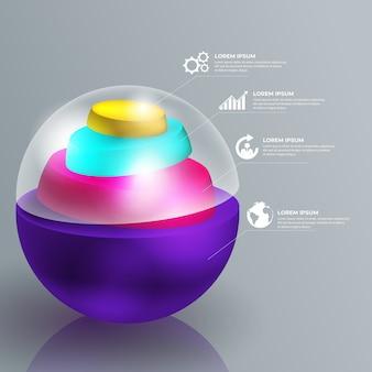 Hochglanz-infografik im 3d-stil