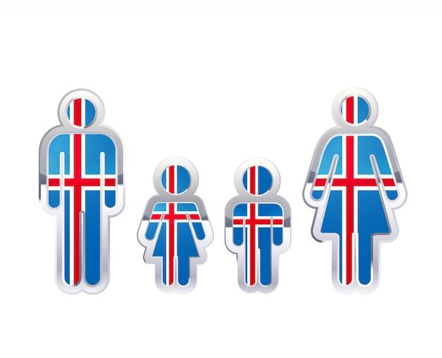 Hochglanzmetallabzeichenikone in mann-, frauen- und kinderformen mit islandflagge, infografikelement auf weiß