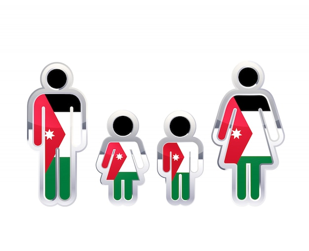 Hochglanzmetallabzeichenikone in mann-, frauen- und kinderformen mit jordanienflagge, infografikelement auf weiß