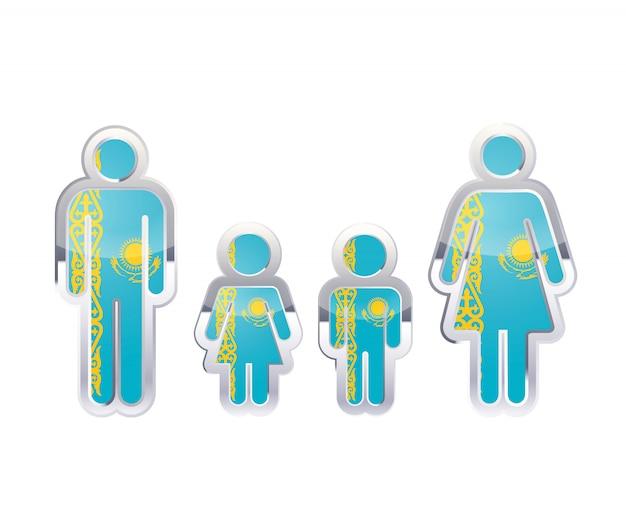Hochglanzmetallabzeichenikone in mann-, frauen- und kinderformen mit kasachstanflagge, infografikelement auf weiß