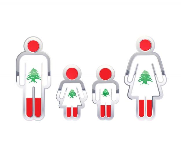 Hochglanzmetallabzeichenikone in mann-, frauen- und kinderformen mit libanon-flagge, infografikelement auf weiß