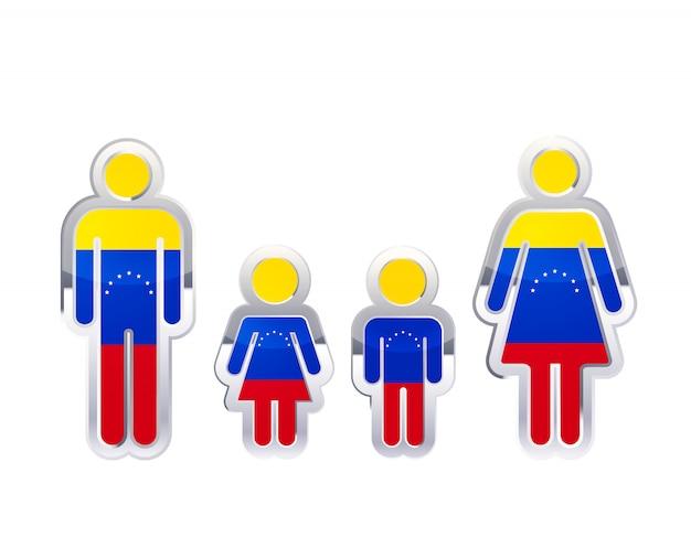 Hochglanzmetallabzeichenikone in mann-, frauen- und kinderformen mit venezuela-flagge, infografikelement auf weiß