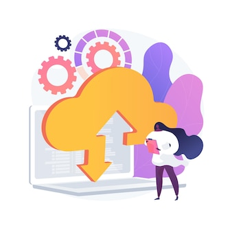 Hochladen in den cloud-speicher. drahtloser zugang zu informationen. online-service, globales hosting, virtueller raum. verfügbarer und sicherer desktop. vektor isolierte konzeptmetapherillustration.
