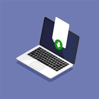 Hochladen von dateien auf den computer. download-prozess. das dokumentsymbol wird auf dem laptop-display geladen. isometrischer stil.