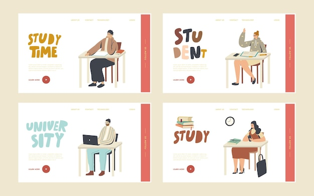 Hochschulbildung, menschen gewinnen wissen landing page template set. studenten sitzen an schreibtischen besuchen vorlesung in der universität. charaktere lernen, kommunizieren, langweilig im seminar. lineare vektorillustration