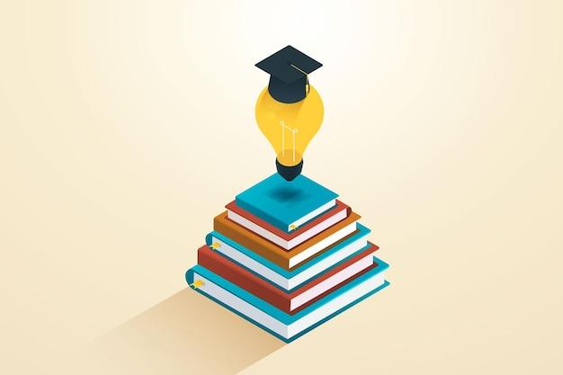 Hochschulbildung oder akademiker, die helfen, geschäftsideen mit einer lampe zu entwickeln, um einen akademischen hut aufzusetzen