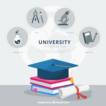 Hochschulelementhintergrund in der flachen art