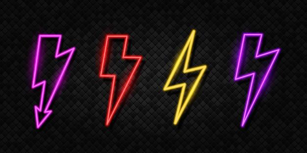 Hochspannungs-gewitter-neonsymbol helles blitz-gewitter hochspannung