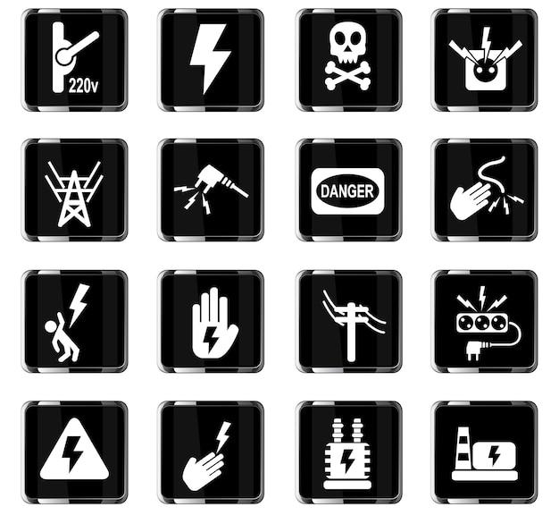 Hochspannungs-websymbole für das design der benutzeroberfläche