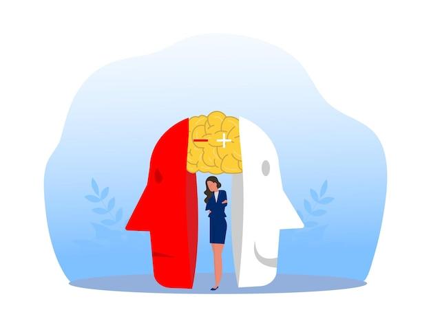 Hochstapler-syndrom; masken mit glücklichen oder traurigen ausdrücken.bipolare störung; falsche gesichter und emotionen. psychologie; falsches verhalten oder betrüger. vektor-illustrator