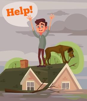 Hochwasserkatastrophe. traurige unglückliche mann- und hundecharaktere, die um hilfe bitten. flache karikaturillustration des vektors