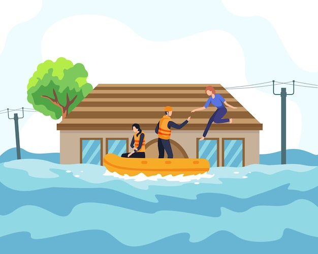 Hochwasserkatastrophen-illustrationskonzept. der retter half den menschen mit dem boot vom sinkenden haus und durch die überflutete straße. menschen vor überfluteten gebieten oder städten gerettet, naturkatastrophenkonzept. in einem flachen stil