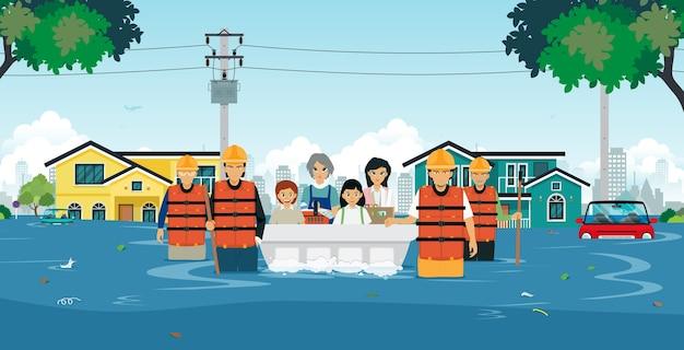 Hochwasserrettungsteams helfen kindern und frauen bei überschwemmungen