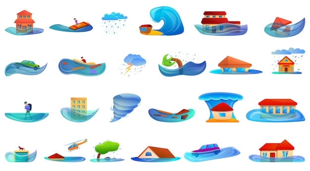 Hochwasserset. cartoon satz von flut