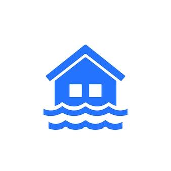 Hochwassersymbol mit einem haus