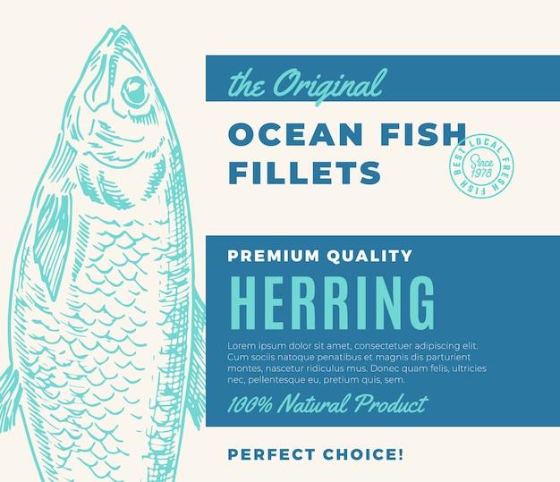 Hochwertige fischfilets. abstraktes fischverpackungsdesign oder -etikett. moderne typografie und handgezeichnete heringsschattenbild-hintergrundanordnung.