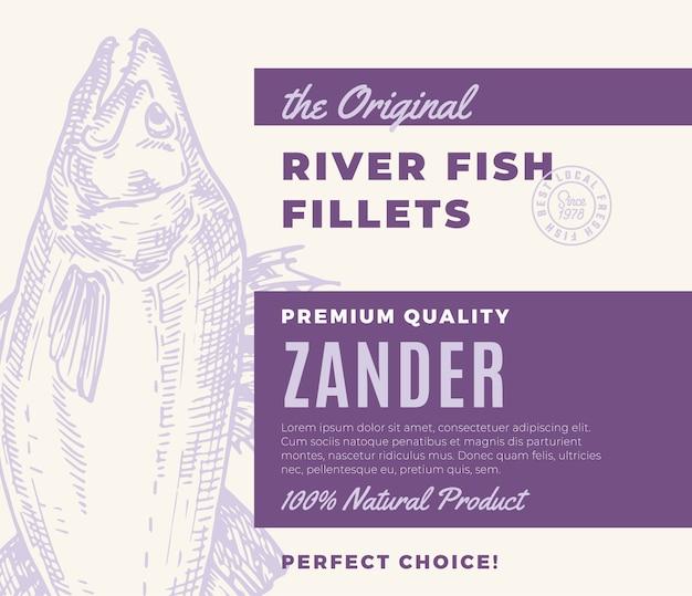 Hochwertige fischfilets. abstraktes fischverpackungsdesign oder -etikett. moderne typografie und handgezeichnete zander silhouette hintergrundlayout
