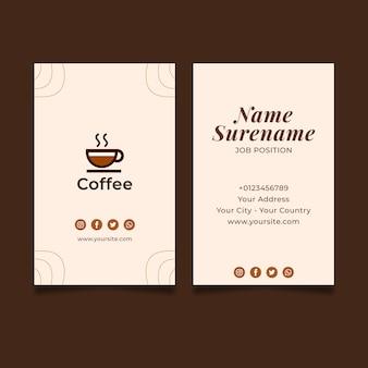 Hochwertige kaffee-visitenkarte vertikal