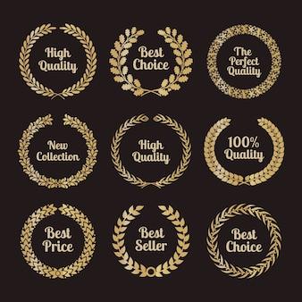 Hochwertige lorbeerkränze im retro-stil. abzeichen zeichen golden, auszeichnung und golden.
