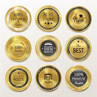 Hochwertige runde goldetikettenkollektion über beige
