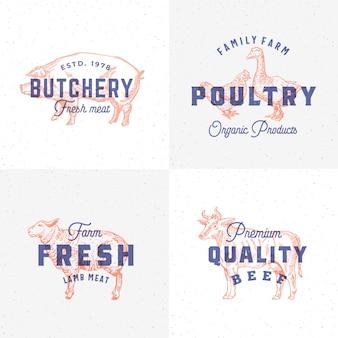 Hochwertige vintage fleisch- und geflügeletiketten. retro-druckeffekt-embleme. abstrakter zeichen-, symbol- oder logo-vorlagensatz. hand gezeichnete kuh-, schweine-, lamm-, gans- und hühnersillhouetten. isoliert.
