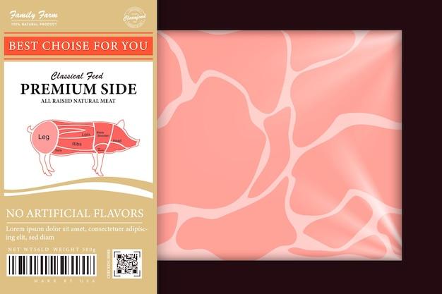 Hochwertiger bio-schweinefleisch-handwerkskarton, abstrakter fleischpapierbehälter mit etikettenabdeckung