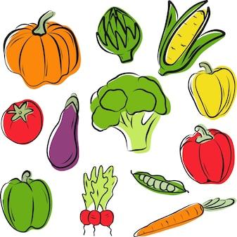 Hochwertiger satz handgezeichneter gemüse vektor-illustrator-doodle gesunde gemüsefarbe