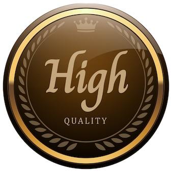 Hochwertiges abzeichen glänzend braun metallic gold lorbeer kranz krone rundes logo