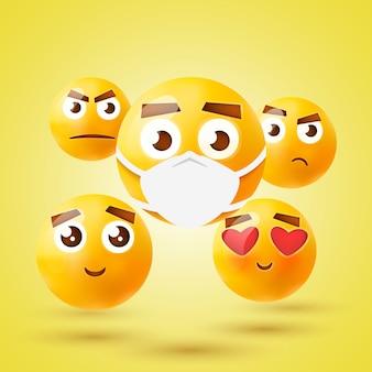 Hochwertiges emoticon 3d icon set. emoji mit medizinischer maske.