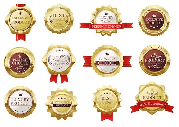 Hochwertiges goldenes abzeichen mit roten bändern. realistisches bestseller-zertifikatsetikett, vintage-gold-luxusprodukt-stempelvektorsatz. glänzendes emblem für perfekte qualitätsgarantie