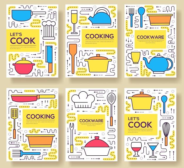 Hochwertiges kochgeschirrkarten-set mit dünnen linien. lineare vorlage des küchentischs von flyear, buch, fahnen.