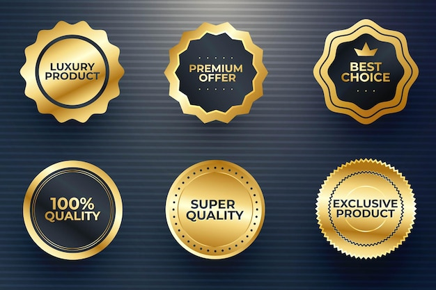 Hochwertiges medaillenset. luxuriöse goldene abzeichen und etiketten in erstklassiger qualität premium-vektor